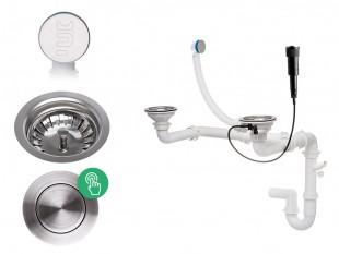 Syfon przyścienny z ukrytym przelewem automatyczny Pop-up dwukomorowy