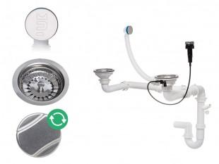 Syfon przyścienny z ukrytym przelewem automatyczny dwukomorowy z pokrętłem